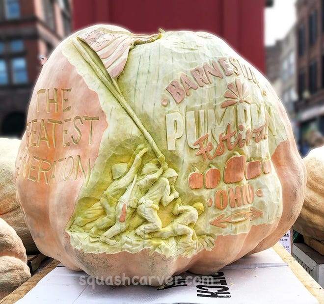 Squashcarver Gus Smithhisler will be at the Barnesville Pumpkin Festival this weekend. See a live giant pumpkin carving demonstration from 3 to 9 p.m., on Friday at the King Pumpkin stand.