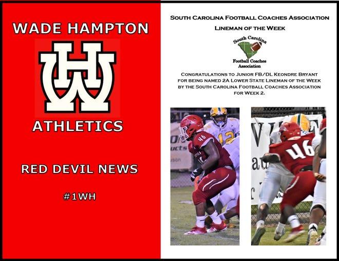 Wade Hampton High School celebrates its Lineman of the Week.