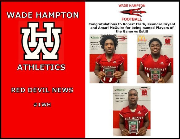 WHHS' Players of the Game against the Estill Gators.
