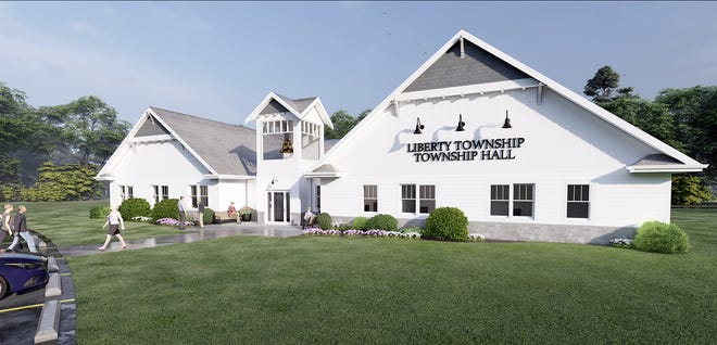 This is an architectural rendering of a proposed new Liberty Township Hall and administrative offices building.