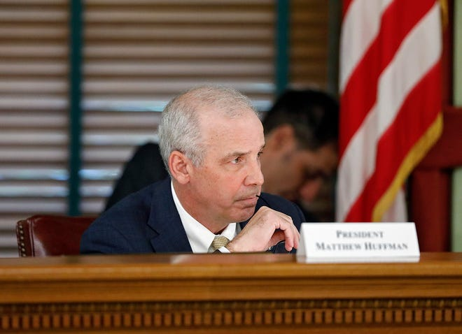 Senate President Matt Huffman listens to an Ohioan voice his concern over Ohio House and Senate district draft maps during a meeting at the Ohio Statehouse in Columbus, Ohio on September 9, 2021. Huffman is one of seven on the Ohio Redistricting Commission.