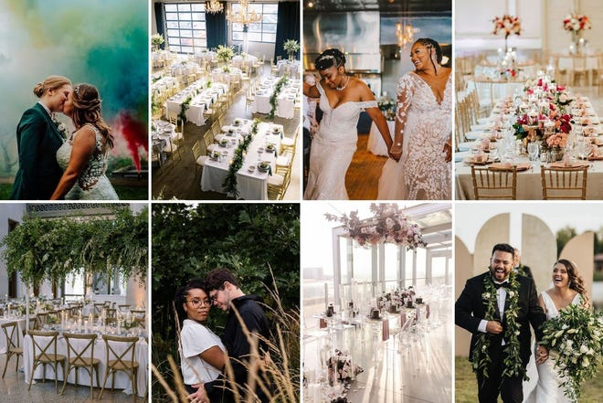 Clockwise from top left, photos courtesy Sunflower Kate Florals, Lauren Lee Photography, Almaz Faces, The Westin Great Southern Columbus, Juan Rodriguez, Morgan Aranda of Prema Designs, Bear Creative Co. and StR Events