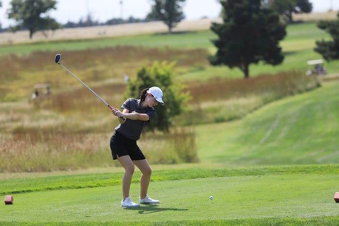 DCHS senior Ti'ley Fry tees off during the Lady Demons golf invitational on Sept. 9 at Mariah Hills Golf Course. Fry ended the day with a score of 96 placing eighteenth individually. The team overall placed fourth out of the 12 teams that were present. Ashlyn Armstrong was the lead scorer for Dodge City with a score of 90. Their next invitational will be on Sept. 13, at Willow Creek Golf Course in Liberal.