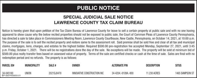 Lawrence County Judicial Sale