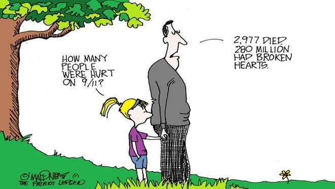 O'Mahoney editorial cartoon on the 20th anniversary of 9/11