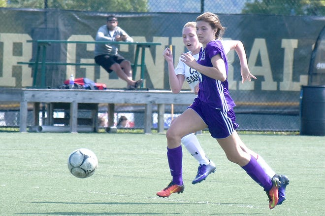 Little Falls Mountie Nicole Failing rushes up the field during a Sunday, Sept. 10, 2017, match against Cold Spring Harbor in the NYSSCOGS New York State High School Girls Soccer Hall of Fame Tournament at Herkimer College's Wehrum Stadium in Herkimer, New York.
