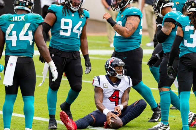 With Houston Texans' quarterback Deshaun Watson (4) in legal limbo, and the Jaguars having a potential future star in Trevor Lawrence, the fortunes for these AFC South rivals may soon be a case of trading places.