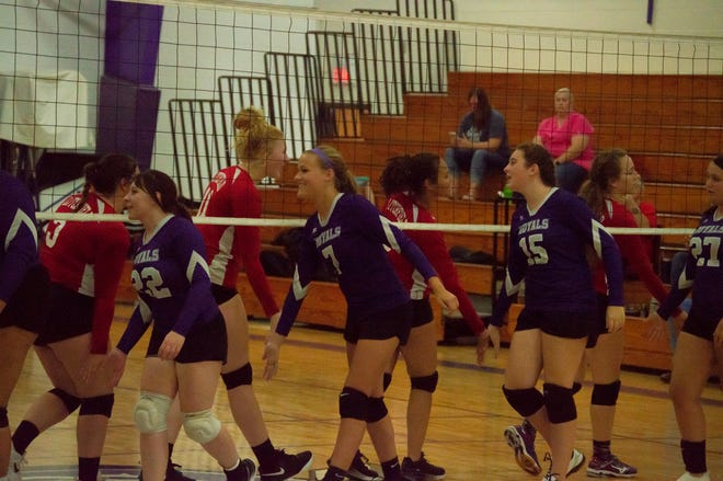 The Terriers and the Royals shake hands after the Royals 25-17 third set victory.