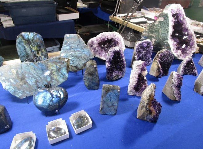 In this 2018 Sentinel file photo, geodes are displayed at the Tulip City Gem and Mineral Show in Holland, Mich.