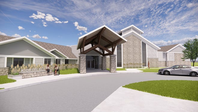 An architect's rendering shows how the renovated entry of Kidron Bethel Village will appear.