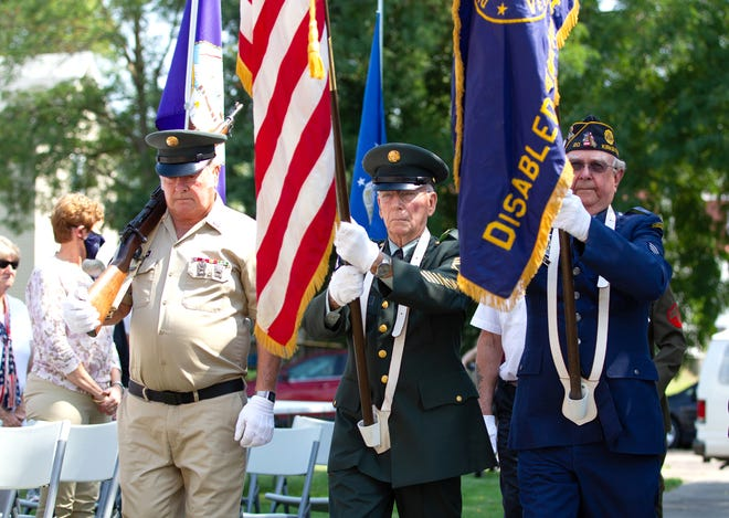 Adair VFW Post 2508 presents the colors during Friday's 9/11 remembrance ceremony in Kirksville.