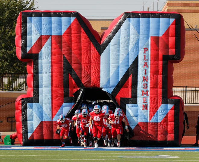 Monterey runs onto the field before the second half at Lowrey Field at PlainsCapital Park Friday, September 10, 2021. (Mark Rogers/For A-J Media)
