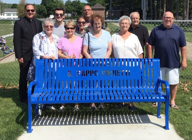 """Gregg """"Pappo"""" Proietti has been honored with a bench at Doyle Field, thanks to donations from family."""