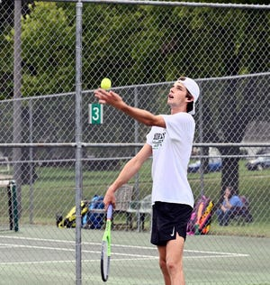 Shown is Simon Birgerson, winner of the men's singles division of the 49th annual Labor Day Tennis Tournament. Birgerson, a native of Karlskrona, Sweden, is the 10th foreign player to win the tournament. Birgerson is a member of the Northwest Missouri State University men's tennis team.