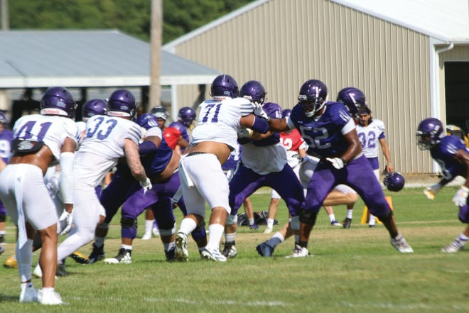 The Western Illinois football team scrimmages during a practice earlier this summer.