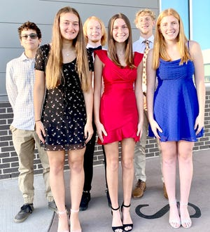 The Ottawa High School Homecoming Queen and King royalty are front row, Ava Waterman, Claire Crowley, Molly McGrath; back row, Holden Seymour, Kade Carlson and Noah McCullough. Homecoming activities will be going on all week at the school. A parade and downtown block party is set for 6 p.m. Wednesday.