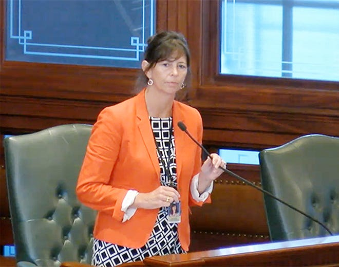 Rep. Kelly Burke, D-Evergreen Park, speaks on the floor of the Illinois House Thursday before passing Senate Bill 539, an ethics reform bill. It will head back to the governor for a signature.