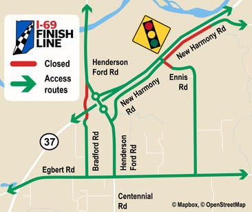 This map shows access around the Henderson Ford Road overpass/interchange.
