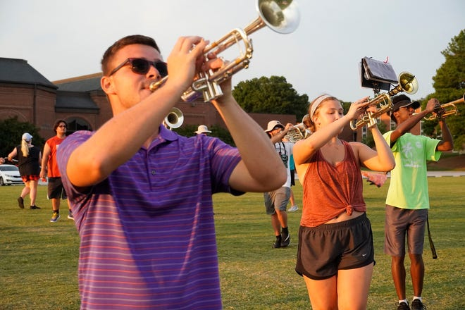 Gardner-Webb's Marching Bulldogs practice on their last day of band camp.