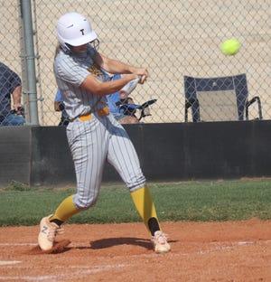Tecumseh's Katelyn Fleming gets a base hit Thursday against Chandler.