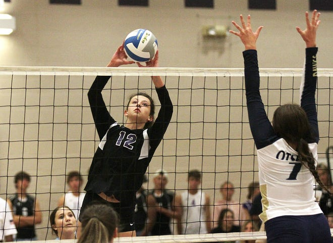 Jenna Southland of Three Rivers sends a ball back over the net against Otsego in prep volleyball action on Thursday.