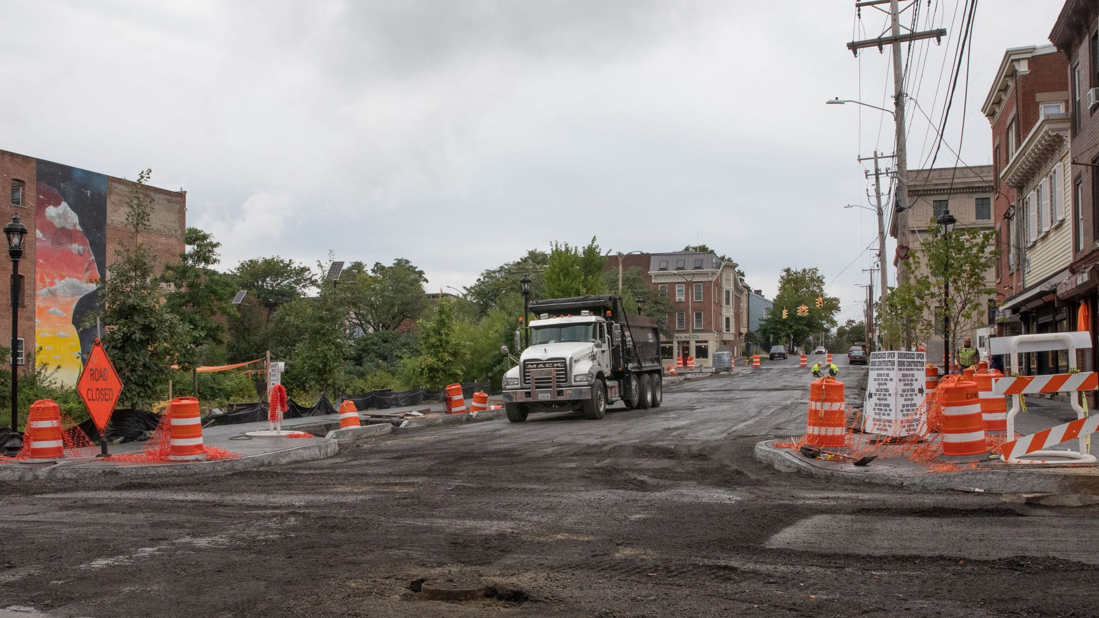 Ongoing construction on Liberty Street in Newburgh, seen on Sept. 9, 2021.