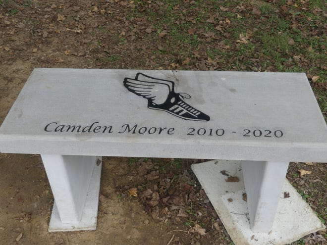 The bench dedicated to Camden Moore on the playground of Oolitic school.