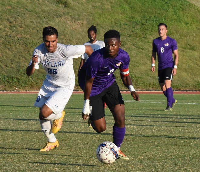 The Southwestern Assemblies of God University men's soccer team takes on Wayland Baptist in this 2018 file photo.