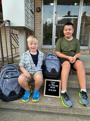 Brothers Kyle Donahue and Jake Donahue are excited for school to begin. Jake, 7, is a second-grader at the Belmonte Steam Academy and Kyle, 12, is a seventh-grader at the Saugus Middle-High School.