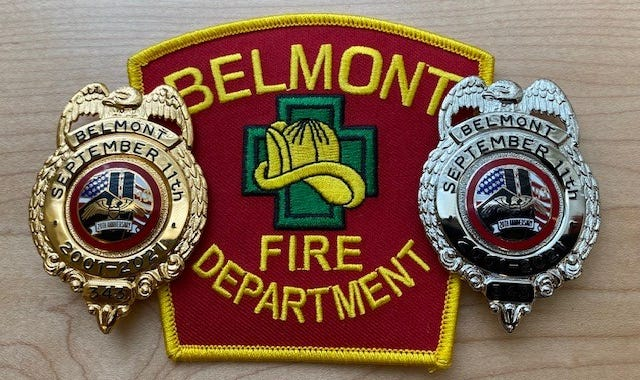 A special 9/11 memorial badge, which will be worn by Belmont firefighters during the month of September.