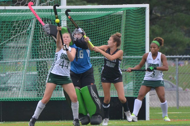Camden Catholic senior Gianna Miller controls a shot out of the air against Bishop Eustace