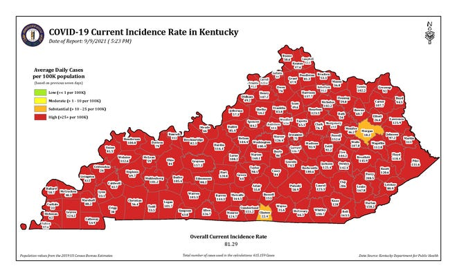 The COVID-19 current incidence rate map for Kentucky as of Thursday, Sept. 9.