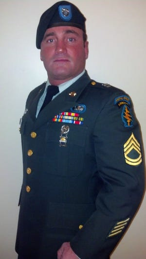 Army veteran Shawn Miracle on his retirement day.