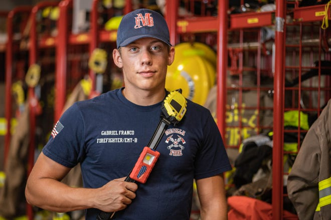 Gabriel Franco, a Mesilla firefighter and EMT, poses for a photo Thursday, Sept. 9, 2021. Franco was born Sept. 11, 2001, and will celebrate his 20th birthday on the 20th anniversary of the attacks.