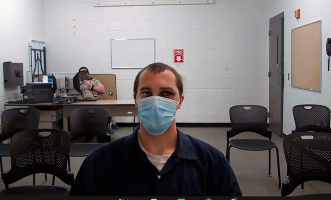 This image from video provided by the Coconino County Superior Court shows Mark Gooch as he appears virtually for a hearing in Coconino County Superior Court in Flagstaff, Ariz., on Thursday, Sept. 9, 2021. Gooch is accused in the death of a Sasha Krause who lived in a Mennonite community near Farmington.