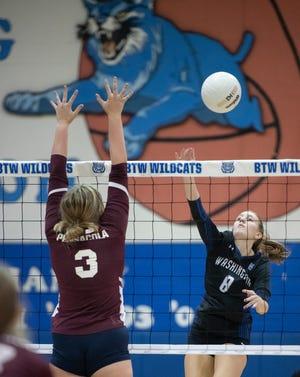 Lyla Davis (8) plays the ball during the Pensacola vs Washington volleyball match at Booker T. Washington High School in Pensacola on Thursday, Sept. 9, 2021.