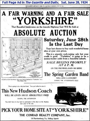 Full Page Ad in The Gazette and Daily, Saturday June 28, 1924.