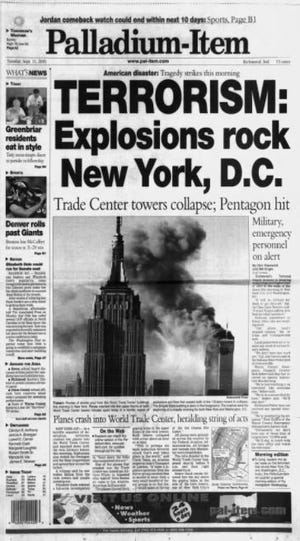 The cover of The Palladium-Item on Sept. 11, 2001