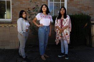 Adabella Bonifacio Herrera, Aide Robles Rodriguez and Karina Leon Ramirez,  all children of farmworkers and preparing to start the post-secondary chapter of their lives,  pose for a portrait at PCUN in Woodburn on Sept. 8.