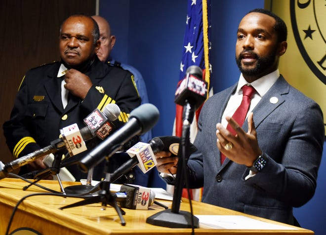 Shreveport Mayor Adrian Perkins answers questions with interim Chief Wayne Smith during a public safety press conference addressing crime at Government Plaza in this file photo.