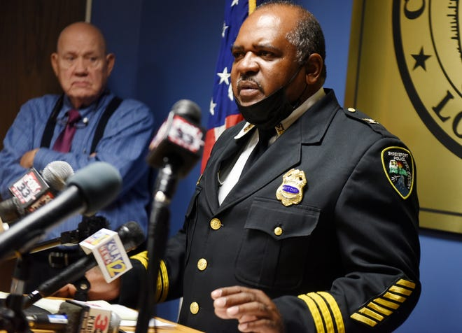 Interim Shreveport Police Chief Wayne Smith during a public safety press conference addressing crime at Government Plaza.
