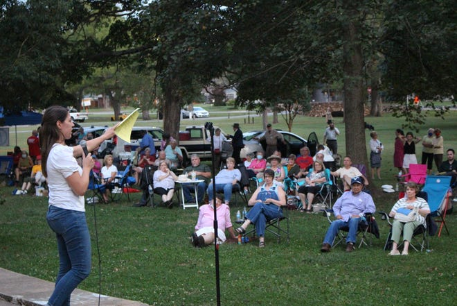 """House Minority Leader Crystal Quade, a Springfield Democrat, speaks to supporters at the Greene County Democrats' annual fall picnic on Sept. 9, 2021 at Phelps Grove Park. """"I need more candidates, I need more friends, I need more support,"""" Quade said."""