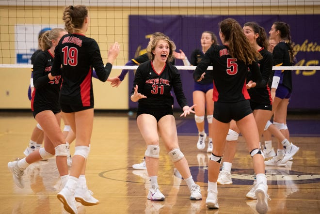 South Fork's Lindsey Scammell (31) celebrates with her team after a point during a high school volleyball match on Thursday, Sept. 9, 2021, against Fort Pierce Central in Fort Pierce. Central won 25-18, 25-12, 21-25, 25-20.
