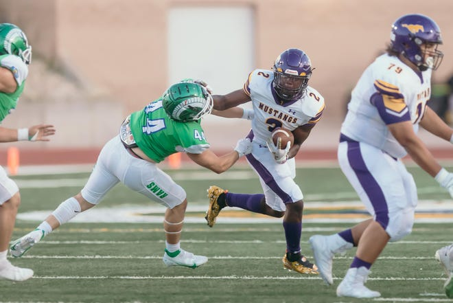 Burges's Tavorus Jones during the game against Montwood High School at the SISD Student Activities Complex on Thursday, Sept. 9, 2021 in El Paso, Texas.