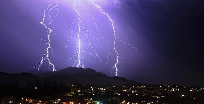 Lightning strikes in the area of Sugarloaf Ridge State Park, Thursday, Sept. 9, 2021, near Santa Rosa, Calif. (Kent Porter/The Press Democrat via AP)