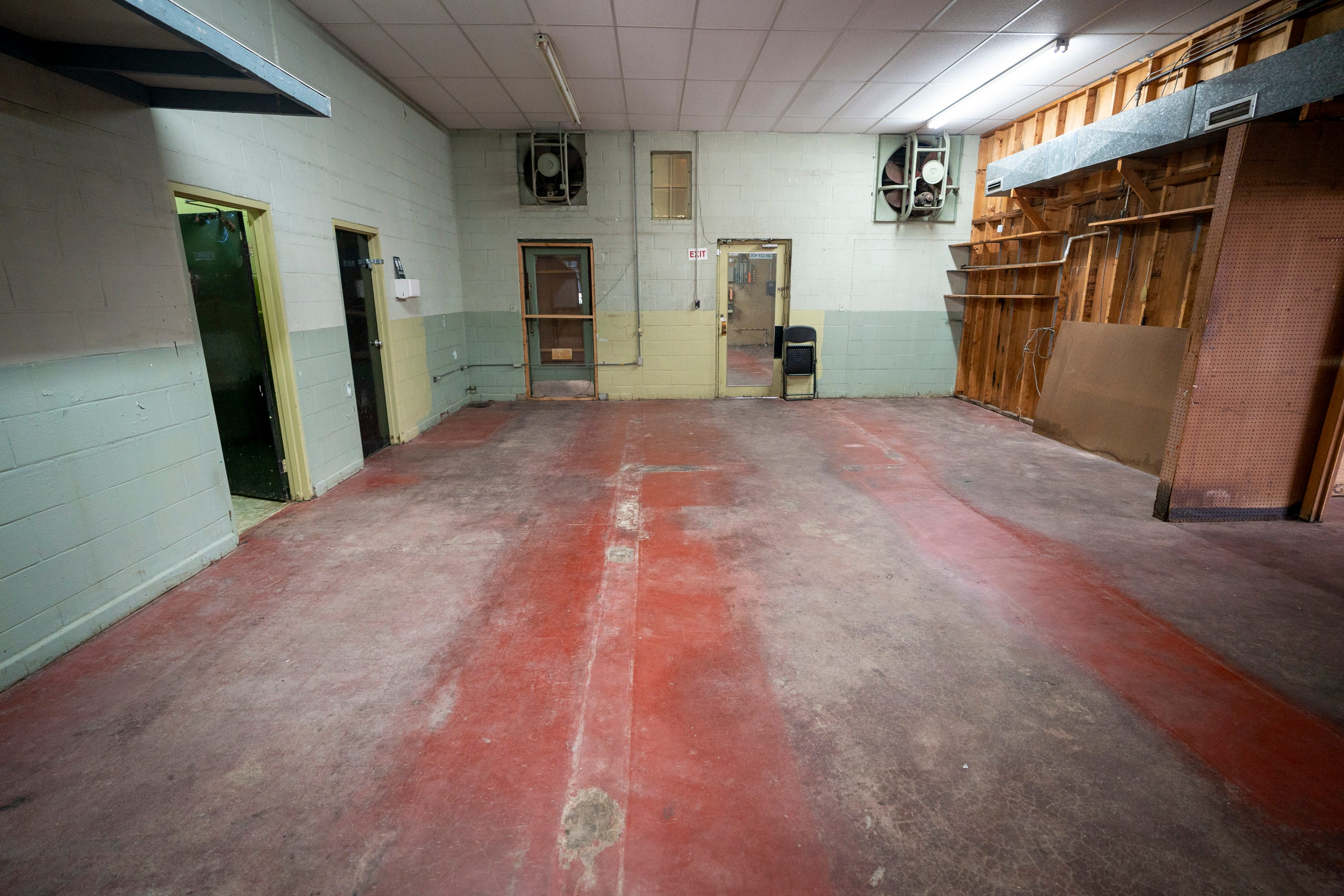 A line in the floor is all that remains of the walls that separated the two sides of the segregated Greyhound station, now preserved as the Freedom Riders National Monument, in Anniston, Ala., on Aug. 13, 2021.