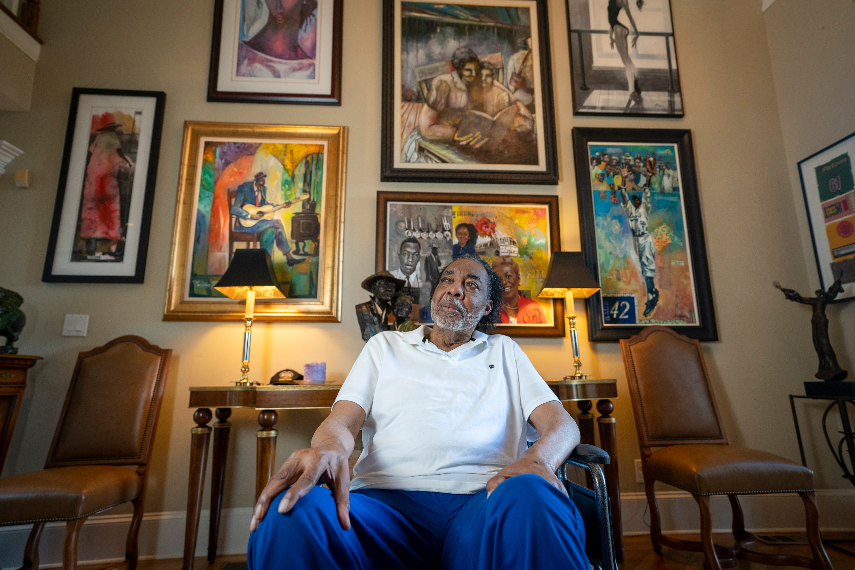 Hank Thomas, a Freedom Rider who survived the firebombing of a bus he was on in 1961, sits for a portrait in his home in Stone Mountain, Ga., on Aug. 15, 2021. Eleven days into the Freedom Rides aimed at ending segregation, Hank Thomas and other Freedom Riders huddled on a bus on May 14, 1961, just outside Anniston, Ala., as a white mob slashed tires on their bus, pounded it with tire irons and then threw a firebomb inside.