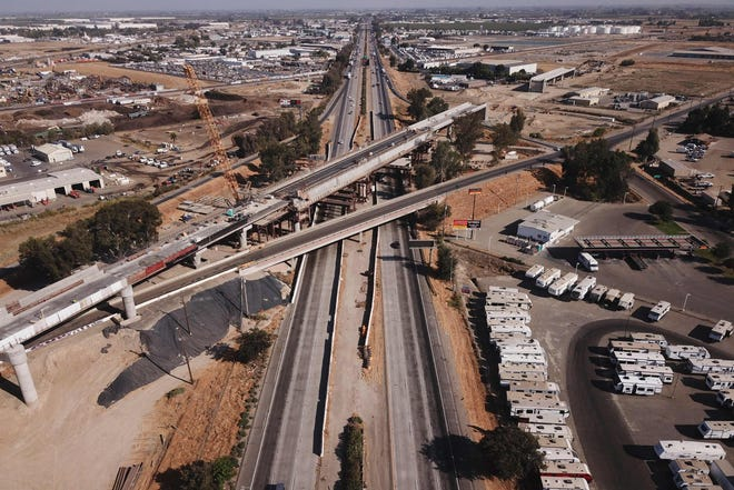 The Cedar viaduct stands during construction of a high-speed rail project through the Central Valley in Fresno, Calif.
