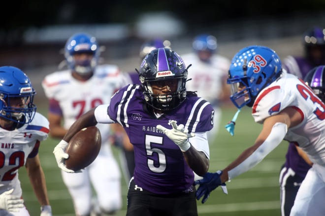 Victor Taylor Jr. races headlong to the end zone for Cedar Ridge against Hays in nondistrict action Sept. 10 at Kelly Reeves Athletic Complex. Cedar Ridge rolled to a 48-13 win.