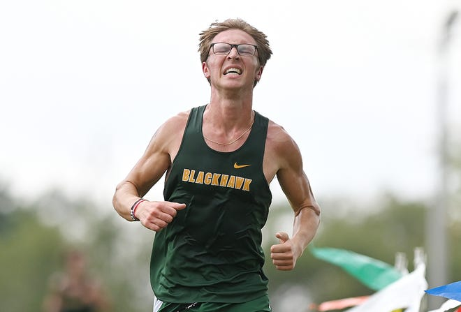 Blackhawk's Ethan Papa crosses the finish line first during a meet against Lincoln Park September 8, 2021 at Blackhawk High School.